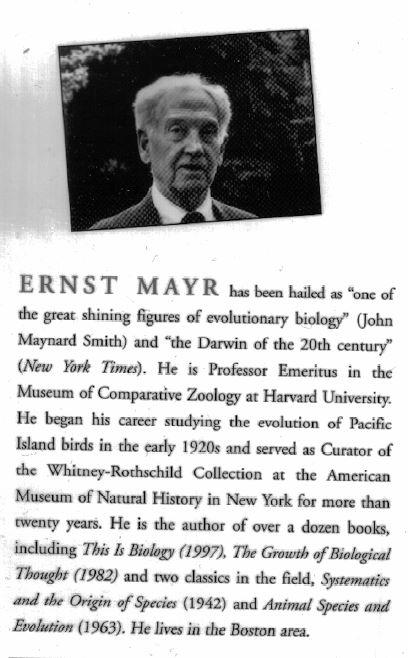 Ernst Mayr book jacket description
